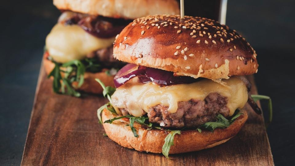 Smashed Cheddar and Onion Burger
